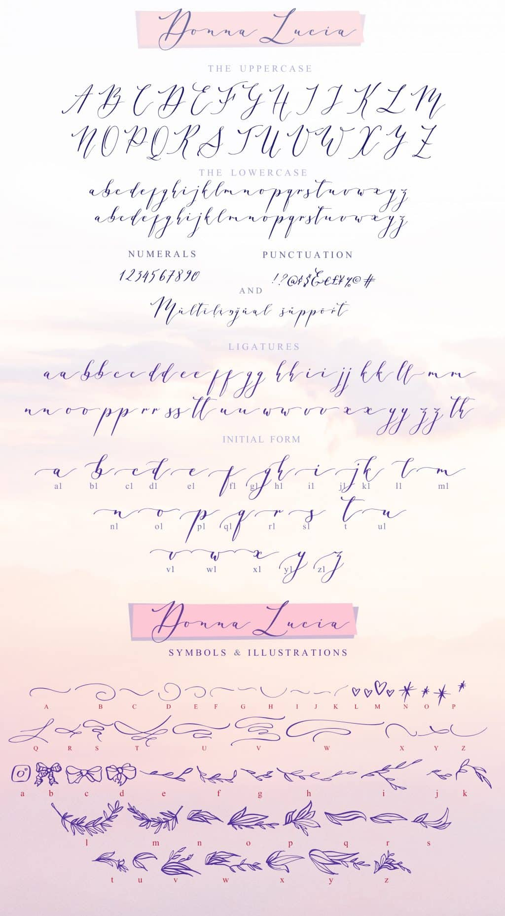 Calligraphy Font Bundle - $12 ONLY - Donna Lucia glyphs map