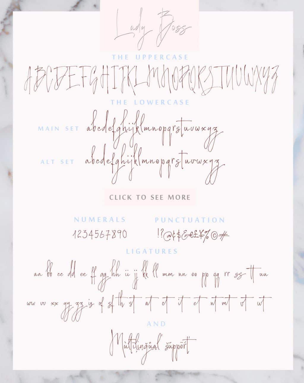 Calligraphy Font Bundle - $12 ONLY - Lady Boss font symbols map