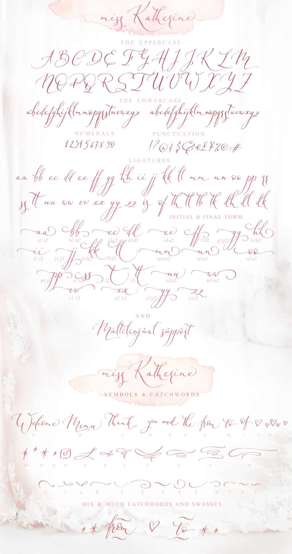 Calligraphy Font Bundle - $12 ONLY - Miss Katherine font symbols map
