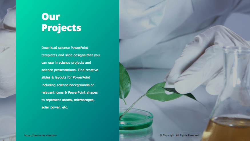 Slide with image of lab assistant working with plant petals, and text box on green background.