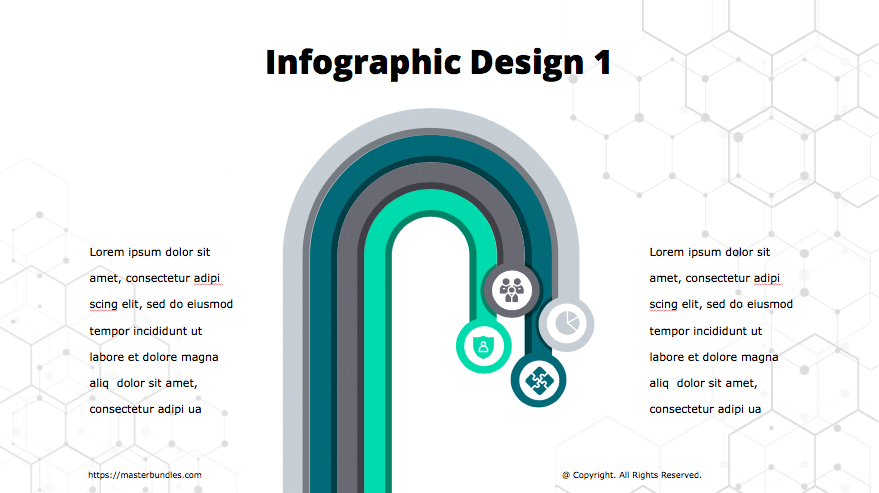Infographics of 4 rounded stripes of grey, blue, turquoise and dark violet with icons at the ends.