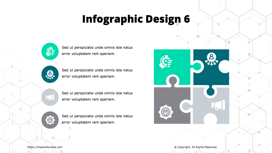 Puzzle-shaped infographics with icons, and text blocks are marked with icons on the left.