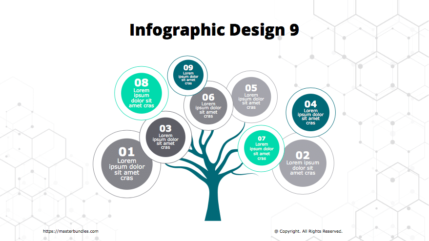 Tree-shaped infographics with round text blocks on the branches.
