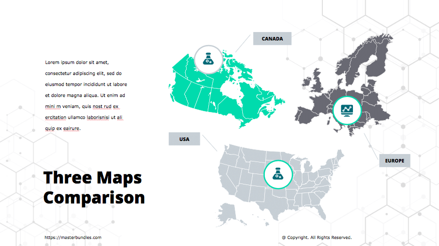 3 countries maps in grey, turquoise and dark colours with icons in each map.