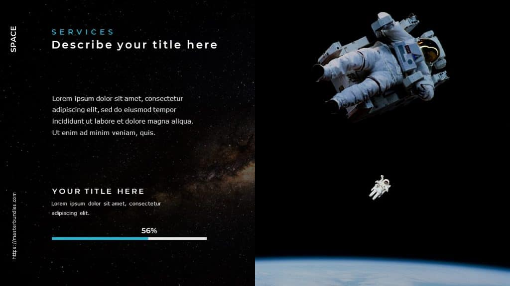 On the left text on cosmic background, and on the right the astronauts in weightlessness in space.
