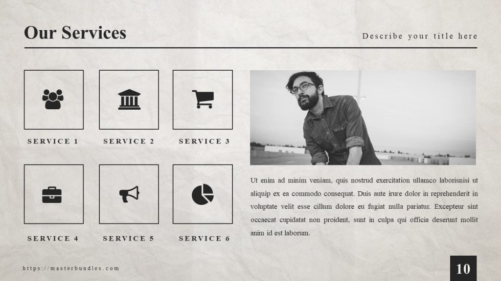 Black and white man's photo on the right with the text box at the bottom and 6 icons on the left.