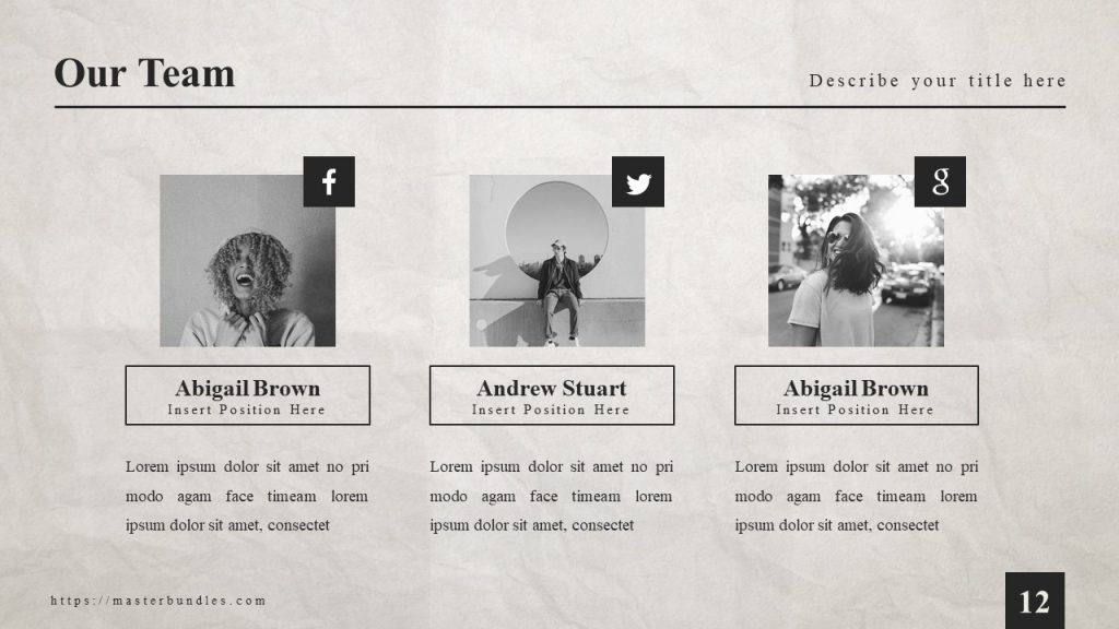 3 team members' photos with links to their social networks, with stylish captions in black frame.