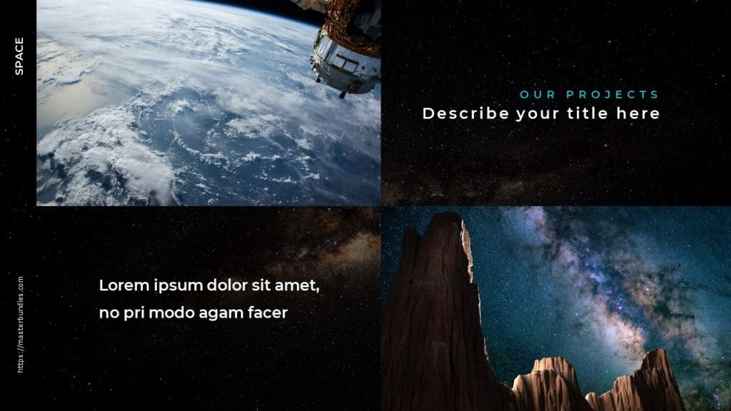 Slide with two photos of the blue and white earth's surface, and two text boxes next to each one.