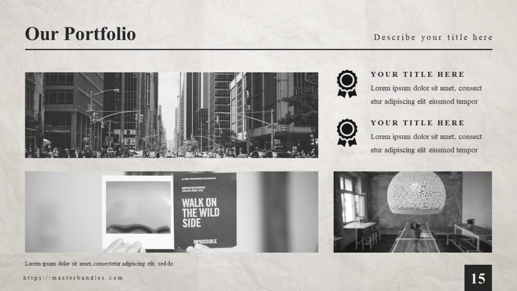 Slide with 2 horizontal city pictures, room pictures on the right and text blocks on the top.