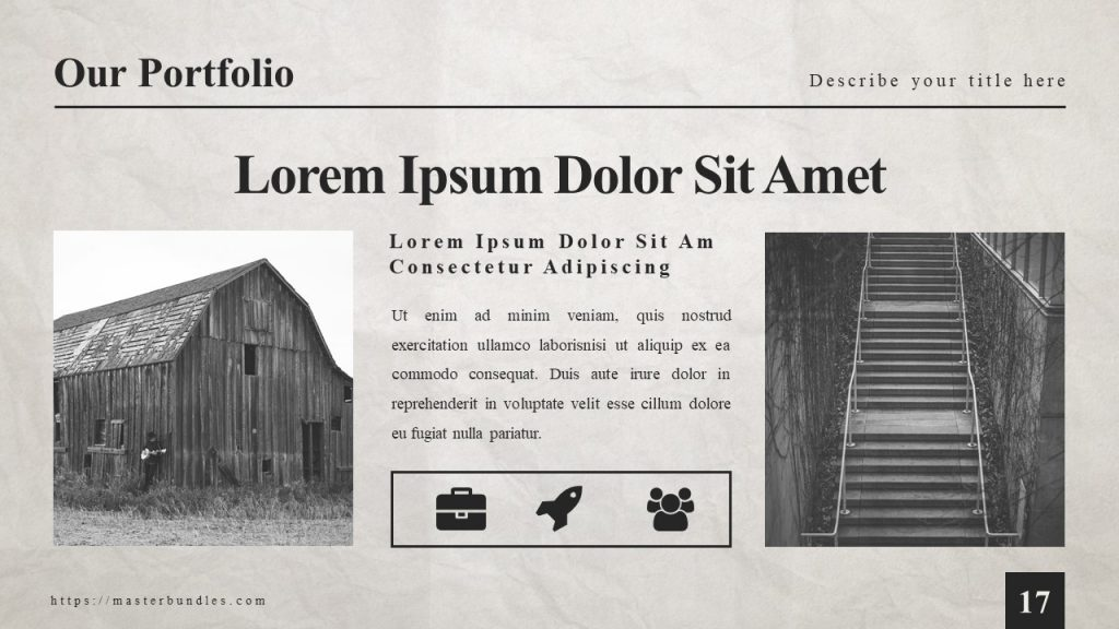 Wooden building on the left, and staircases on the right, with text and 3 icons in the middle.