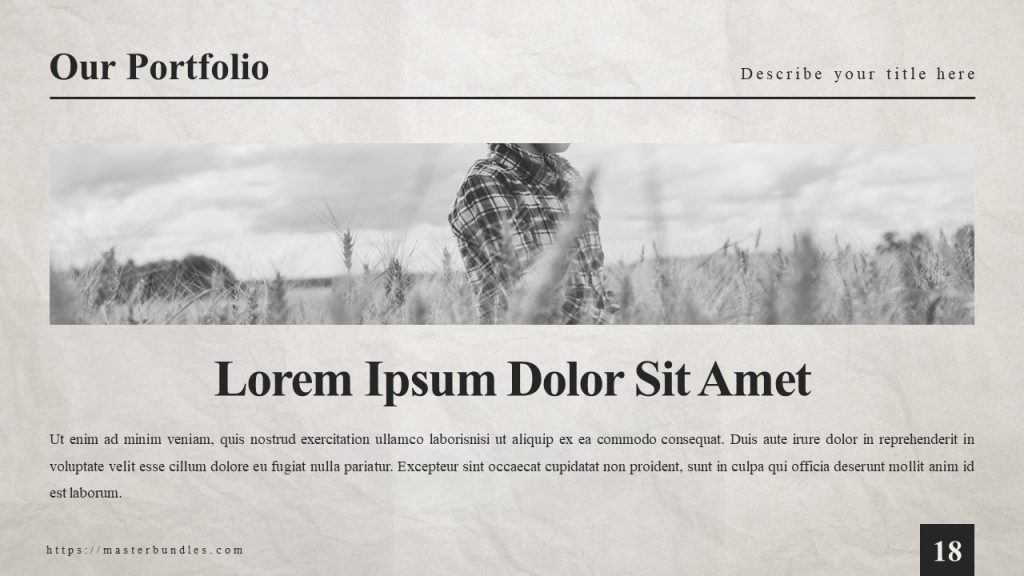 Picture of man in the field, and under it is bold headline with capital letters, and text block.