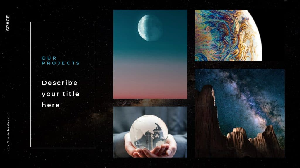 Text box in white frame on the left,images of earth, colorful planet surface, moon on the right.