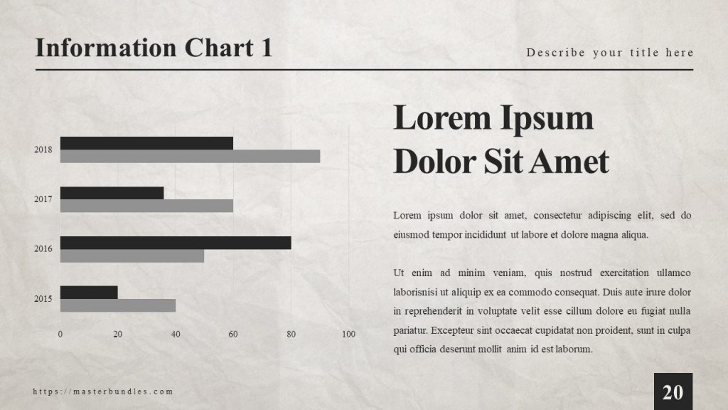 Text box on the right, and bar graph with black and gray bars on the left.