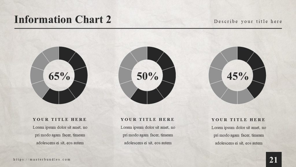 3 pie charts with percentages, and under each text block.