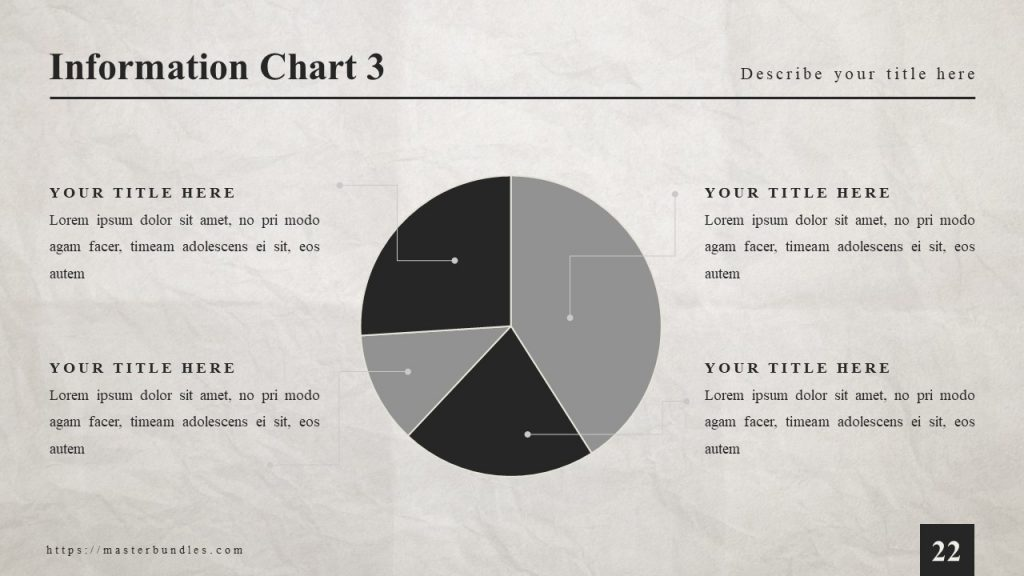 Black and gray pie chart attached by lines to 4 text blocks around.