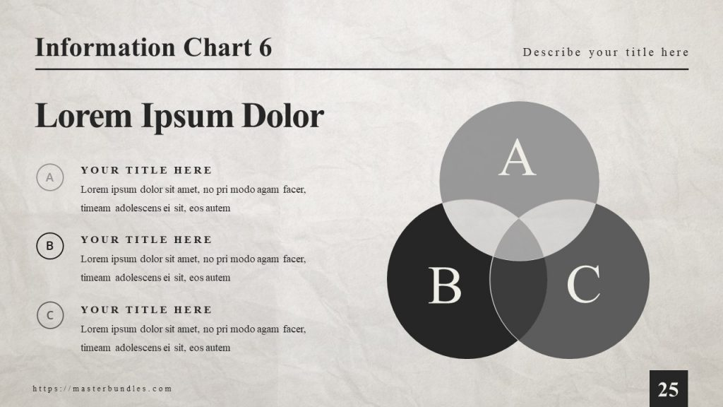 Black and gray simple Venn diagram on the right and text boxes with description on the left.