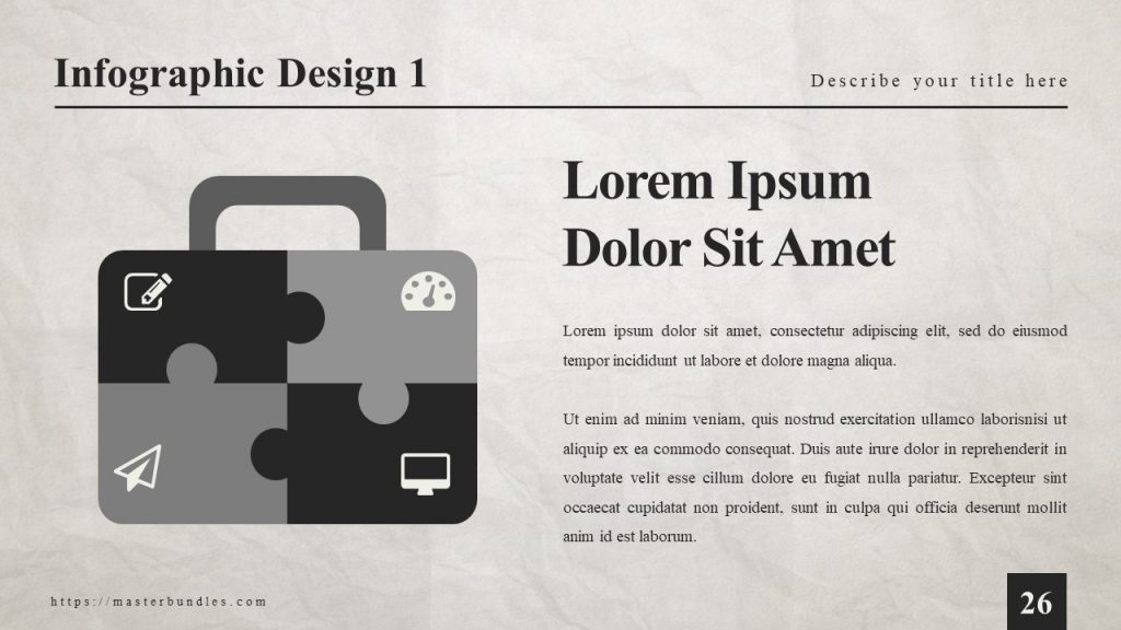 Text block on the right, and black gray case-shaped infographics with newspaper icons on the left.