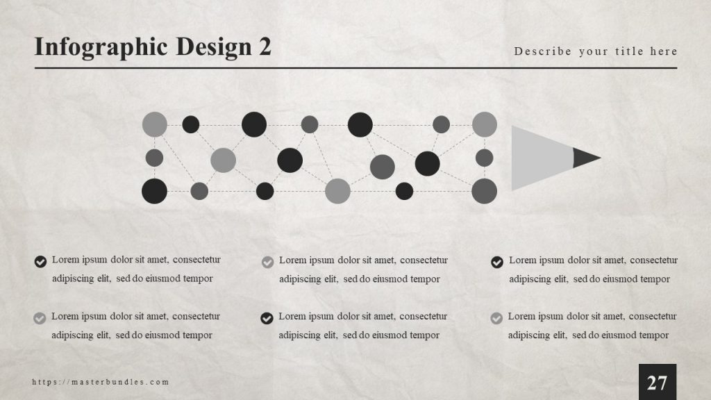 Original infographics with bold black and gray points that form pencil, text blocks at the bottom.