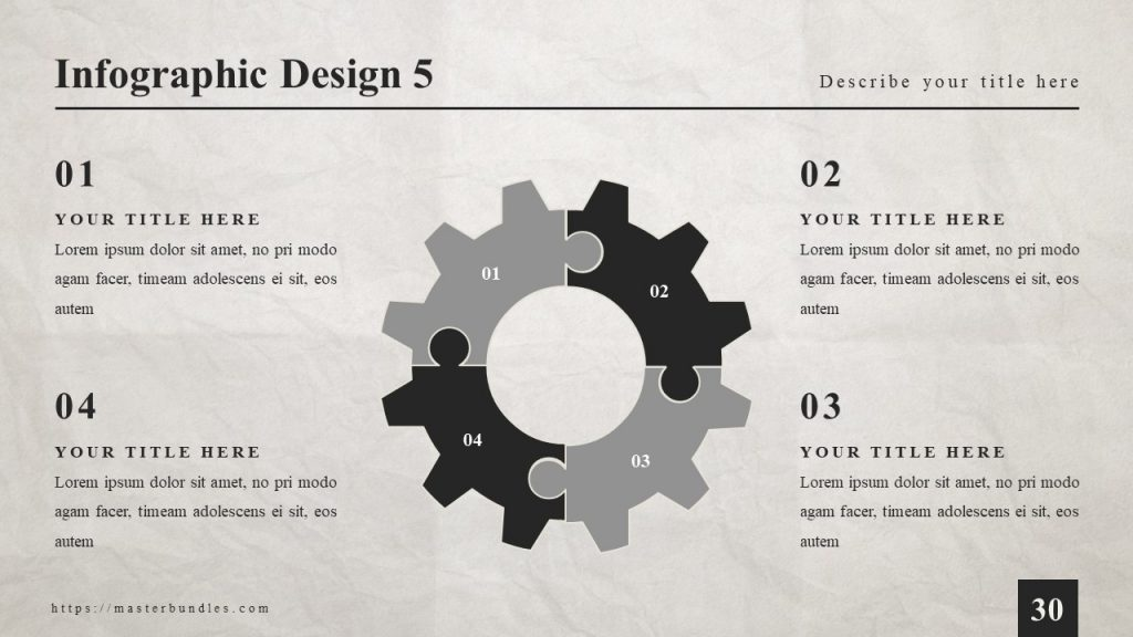 4 text blocks along the slide, and black gray gear-shaped infographics in the middle.