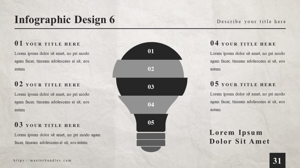 Lamp-shaped infographics, and 5 text boxes with a bold title on the sides.