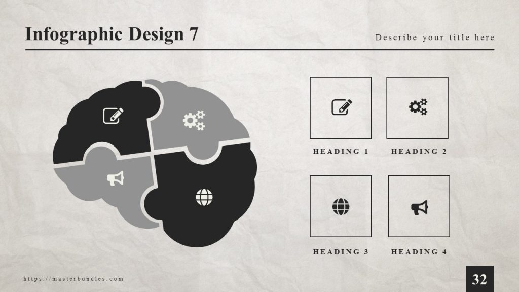 Slide with brain-shaped infographics and icons in it, icons in black frame on the right.