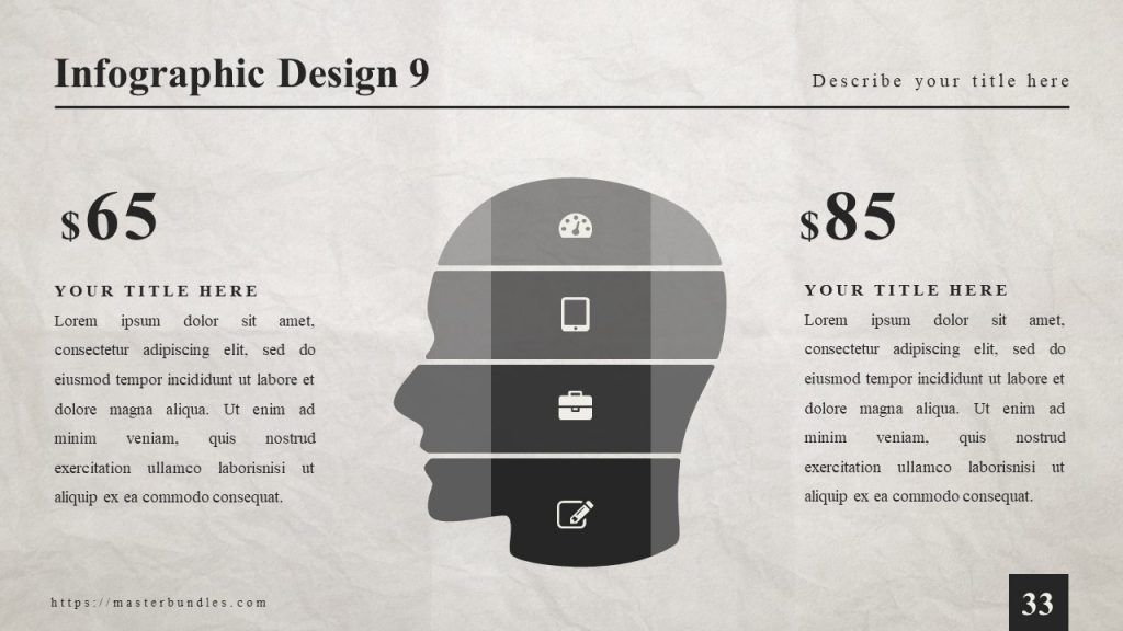 Infographics in the form of human head with icons in each block, and 2 text blocks on the sides.