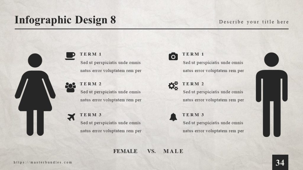 Slide with comparison of male and female and near their figures is text with icons.