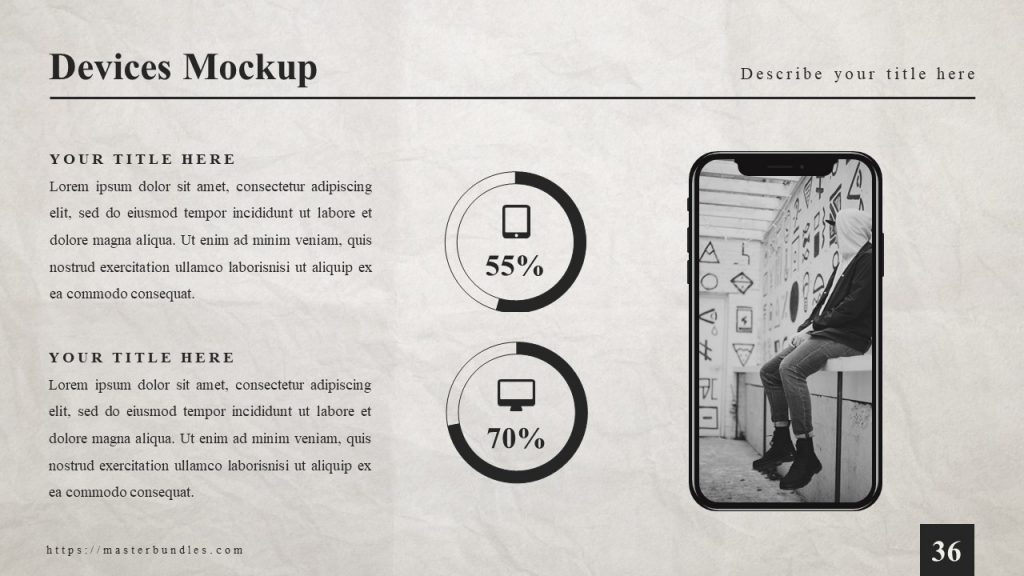 Slide with newspaper background, photo of sitting guy, and 2 circles with percentages and icons.