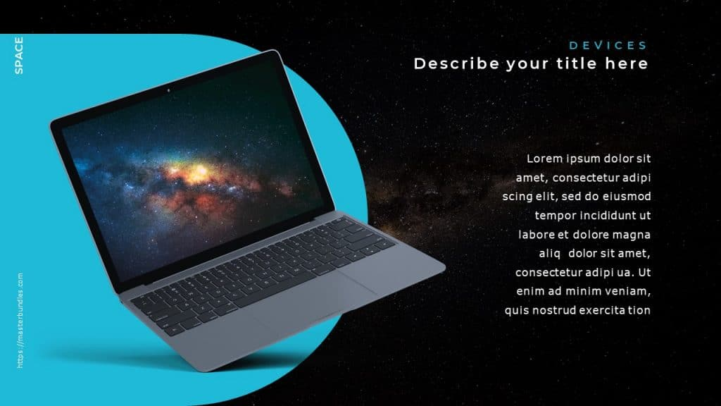 Text on the right, and semi-circular blue background on the left with space on notebook screen.