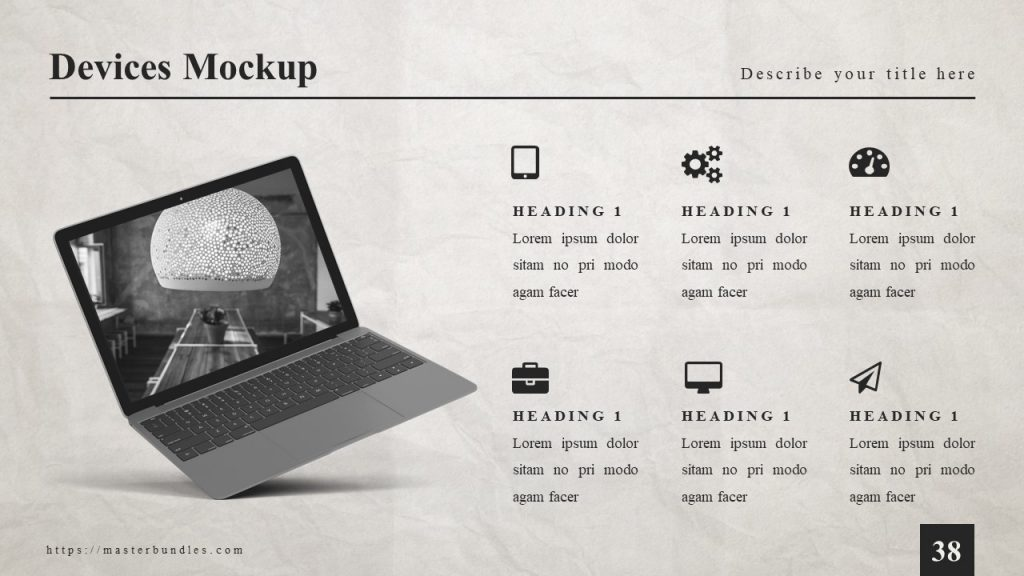 6 icons with text boxes on the right, and laptop with room image on the left.