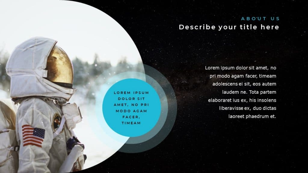 Slide with semi-circular image of the astronaut in profile, and small text box on the right.