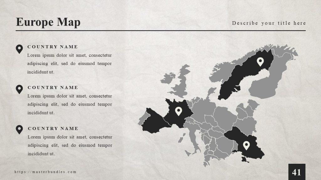 Gray map of Europe with black marks, and text blocks explaining these marks on the left.