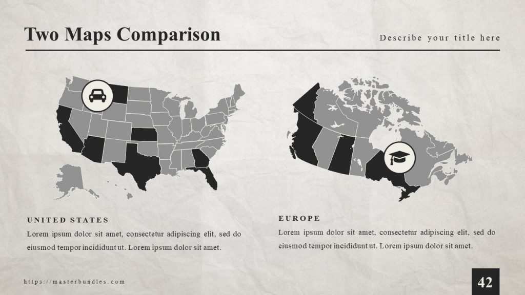 Black grey maps of the USA and Europe with icons on each.