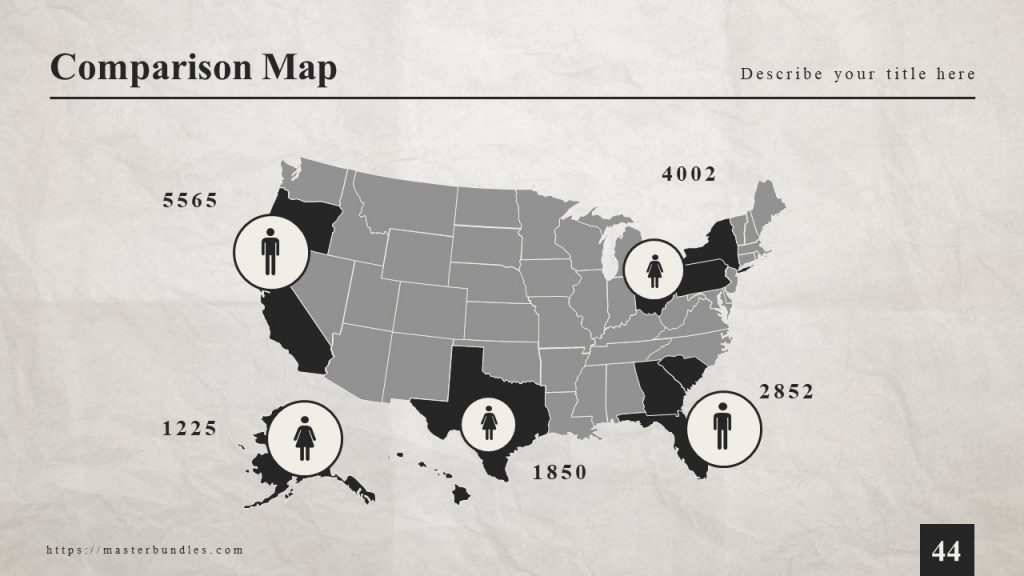 Gray maps with black marks, and male and female icons.
