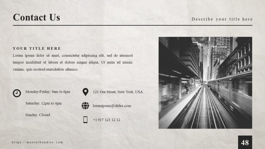 City image on the right, and contact details with icons on the left.