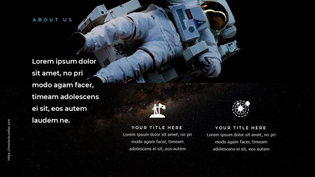 Astronaut image in weightlessness on a cosmic background, text boxes and icons at the bottom.