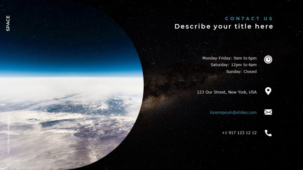 Slide with semi-circular image of the planet from space, and contact information on the right.