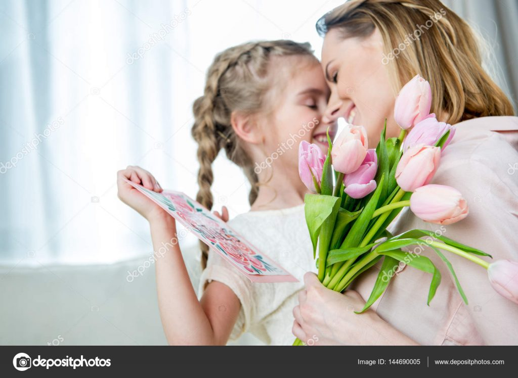 50+ Mother's Day Designs 2020: Graphics, Cards, Clipart, Fonts, Backgrounds, and Photos - depositphotos 144690005 stock photo daughter greeting mother