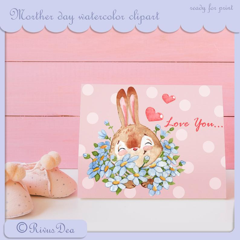 Mother's Day Watercolor Clipart