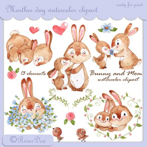 Mother's Day Watercolor Clipart: Cute Baby Bunny & Mom PNG - il 794xN.1516453777 1orr 490x490