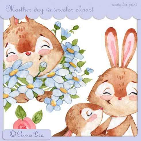 Watercolor Bunny and Mom: Mother's Day Designs with Rabbits + Bonus PNG - il 794xN.1516453783 6gcn 490x490