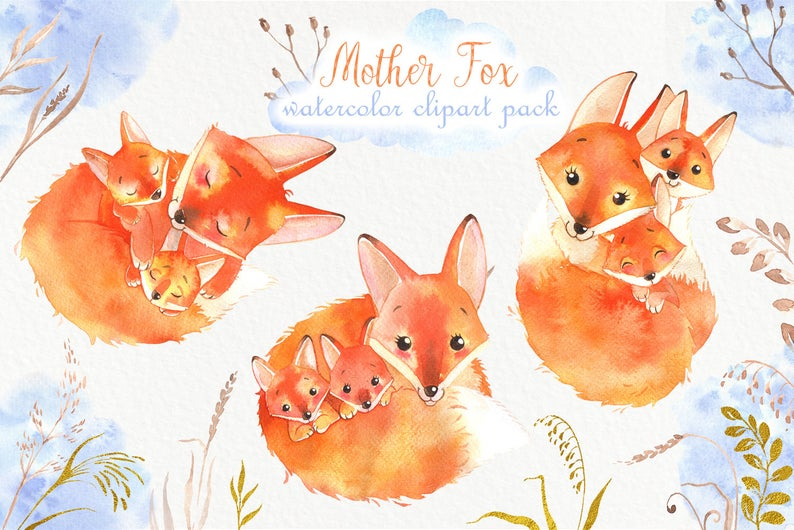 Watercolor Fox: Baby Fox Clipart with Mother - PNG - il 794xN.1884469346 cya0