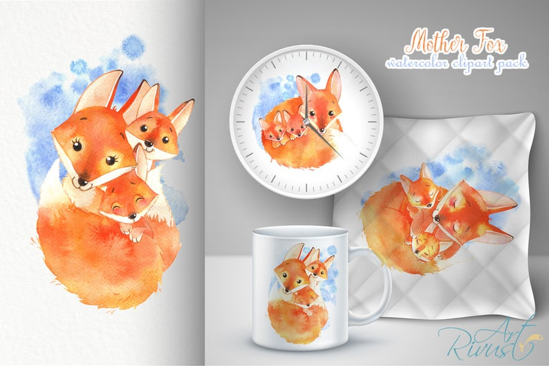 Watercolor Fox: Baby Fox Clipart with Mother - PNG - il 794xN.1884469386 n2ta