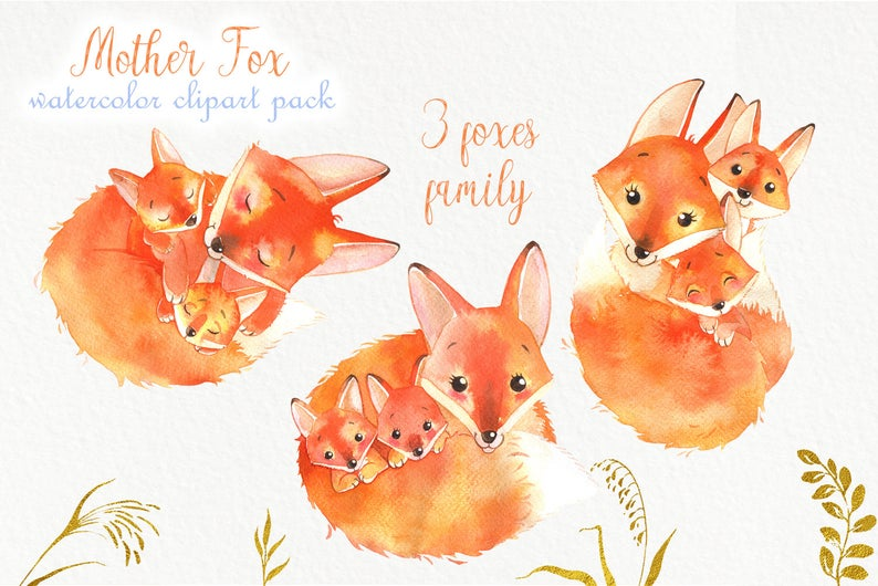 Watercolor Fox: Baby Fox Clipart with Mother - PNG - il 794xN.1931059501 alds