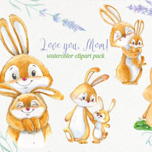 Mother's Day Watercolor Clipart: Cute Baby Bunny & Mom PNG - il 794xN.1939967098 cqz0 490x490