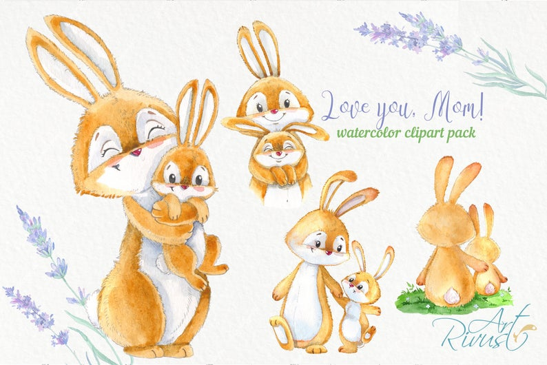 Watercolor Bunny and Mom