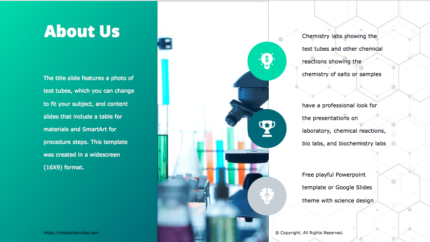 Slide with text on turquoise background with gradient, laboratory supplies image with icons.