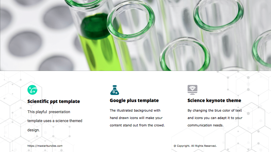 At the top is image of test tubes with liquids, and at the bottom are icons with text blocks.
