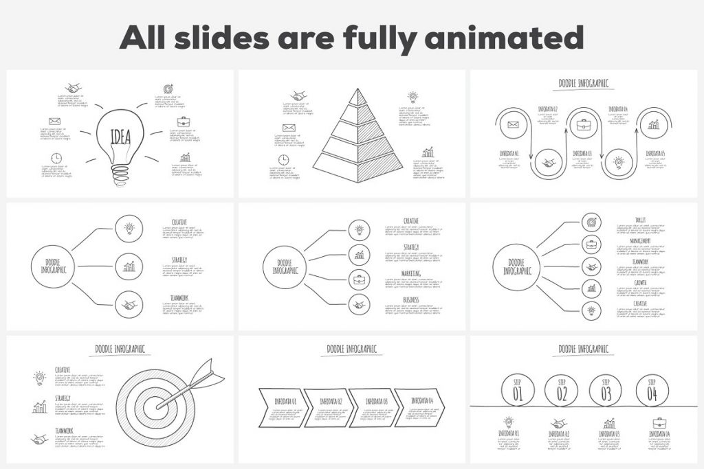 Doodle Presentation: 30 Infographics & Slides AI, PSD, EPS, KEY, PDF - 01