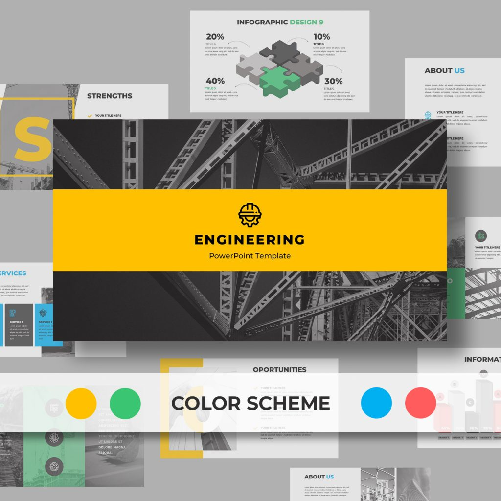 Engineering PowerPoint template available in blue, yellow, red, and green color schemes.